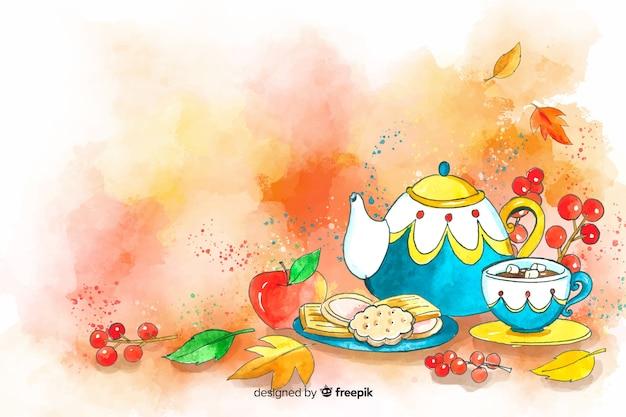 Akwarela jesień jedzenie i liście tło Darmowych Wektorów