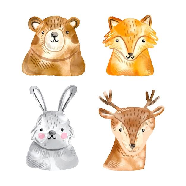 Akwarela Jesień Kolekcja Zwierząt Leśnych Premium Wektorów