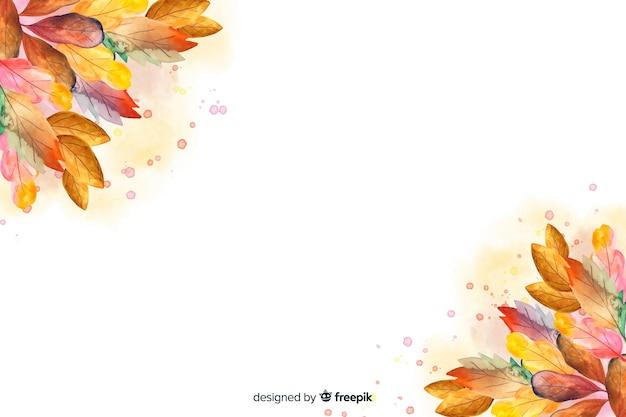 Akwarela jesień tło z liśćmi Darmowych Wektorów