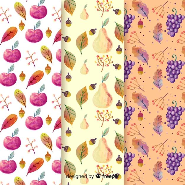 Akwarela jesień wzór kolekcja z liśćmi Darmowych Wektorów