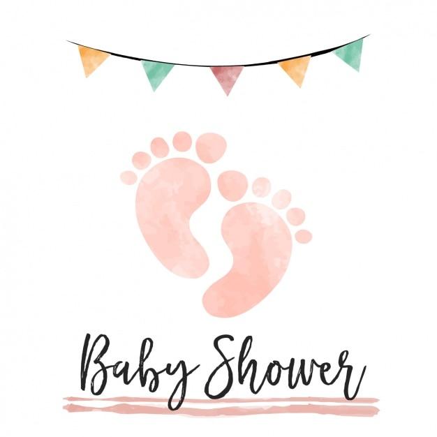 Akwarela karta baby shower z śladami Darmowych Wektorów