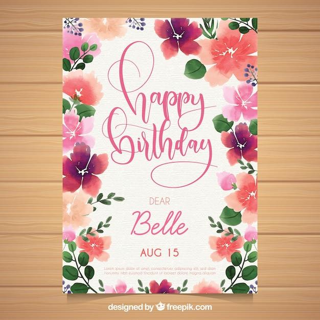 Akwarela kartka urodzinowa z pięknymi kwiatami Darmowych Wektorów
