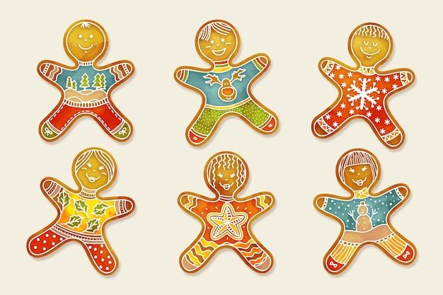 Akwarela Kolekcja Cookie Piernika Darmowych Wektorów