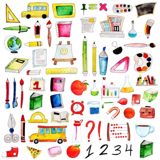 Akwarela kolekcja elementów z powrotem do szkoły Premium Wektorów