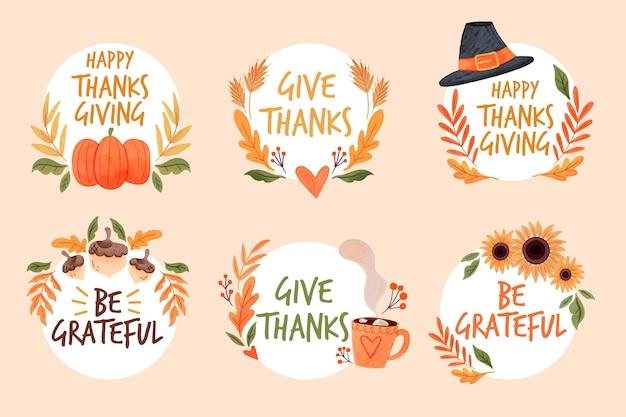 Akwarela Kolekcja Etykiet Dziękczynienia Darmowych Wektorów