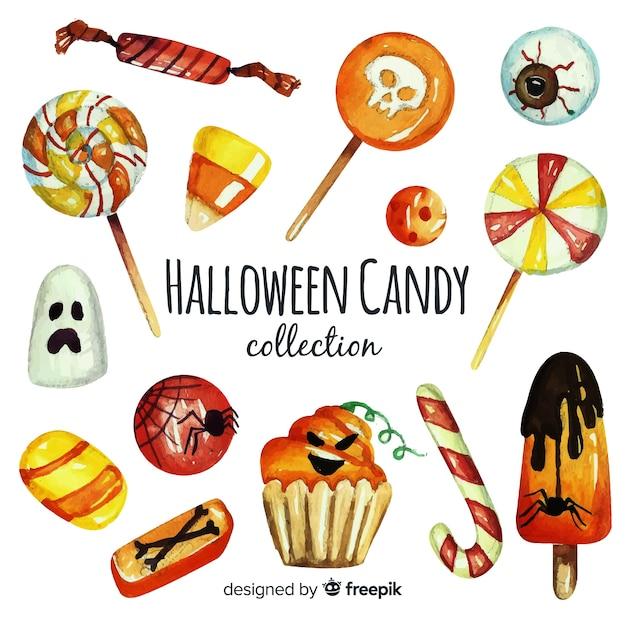 Akwarela kolekcja kolorowych cukierków halloween Darmowych Wektorów