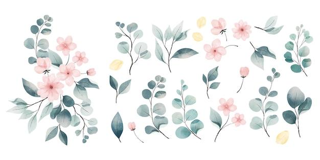 Akwarela Kolekcja Liści I Kwiatów Darmowych Wektorów
