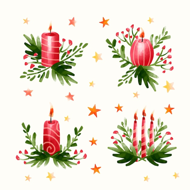 Akwarela kolekcja świec świątecznych Darmowych Wektorów