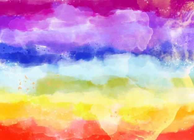 Akwarela Kolorowa Tęcza Tło Premium Wektorów