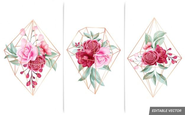 Akwarela Kompozycje Kwiatowe Z Geometrycznym Złotym Diamentem W Kształcie Do Składu Karty Premium Wektorów