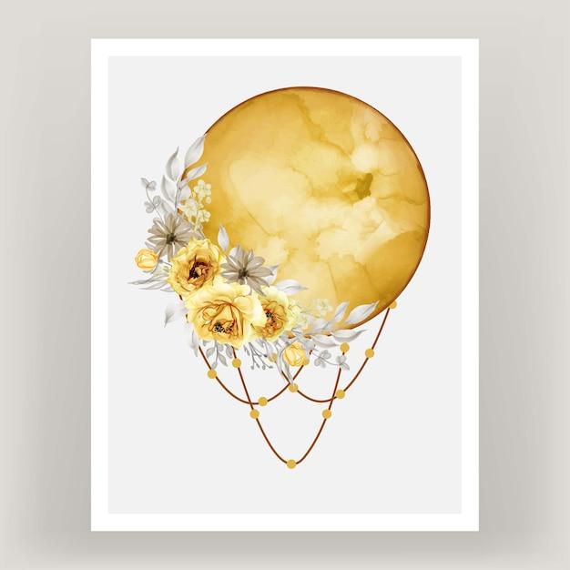 Akwarela Księżyc W Pełni żółty Odcień Z Kwiatem Róży Darmowych Wektorów