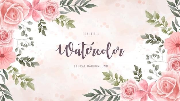 Akwarela kwiat kwiatowy tło Premium Wektorów