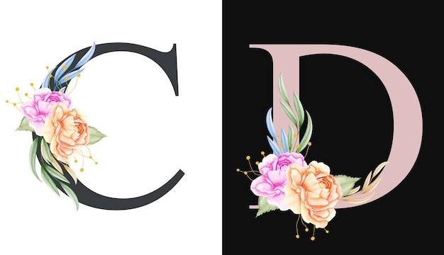 Akwarela Kwiatowy Alfabet Zestaw C, D Z Pięknymi Kwiatami I Liśćmi Premium Wektorów