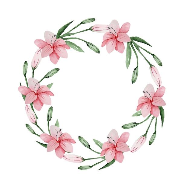 Akwarela Kwiatowy Delikatny Wianek Z Różowych Lilii Na Wyjątkową Okazję Premium Wektorów
