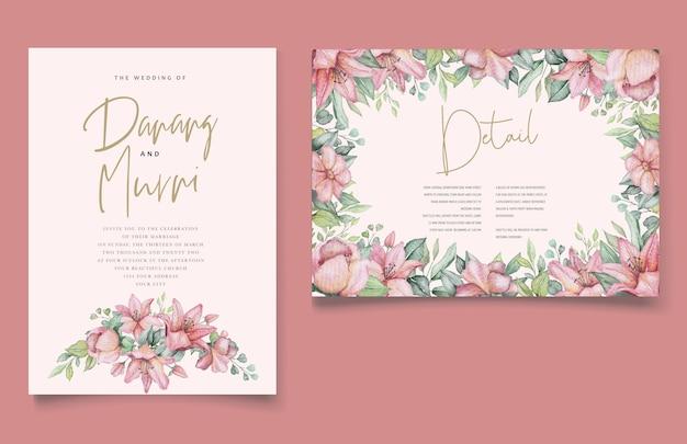 Akwarela Kwiatowy I Liści Zestaw Kart Zaproszenie Na ślub Darmowych Wektorów