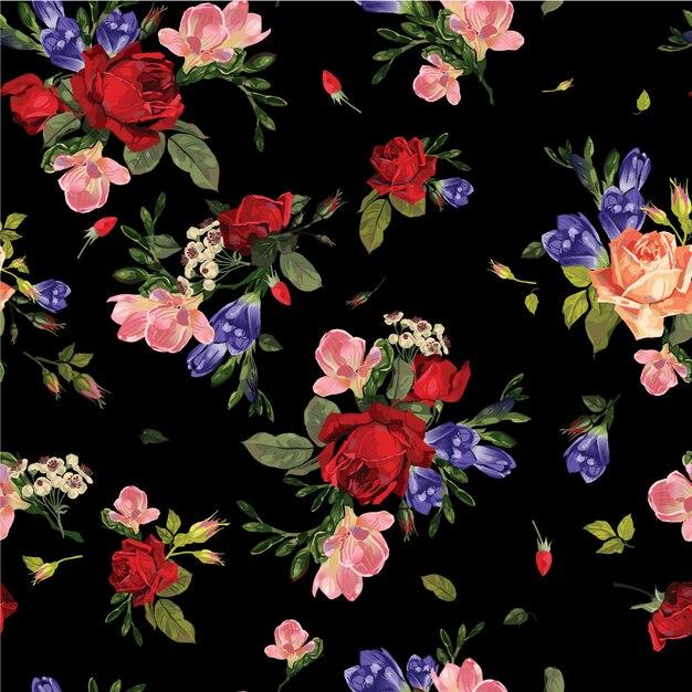 Akwarela kwiatowy liści bezszwowe tło wzór Premium Wektorów