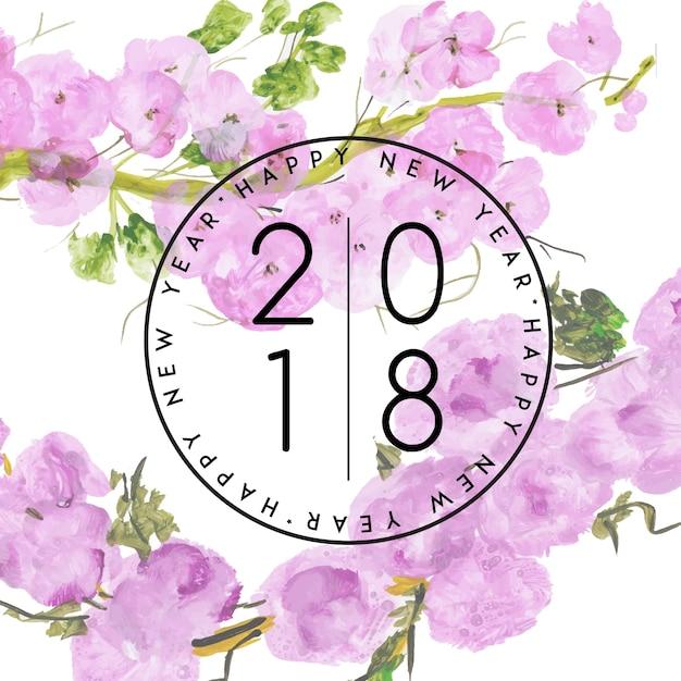 Akwarela kwiatowy nowy rok 2018 Darmowych Wektorów