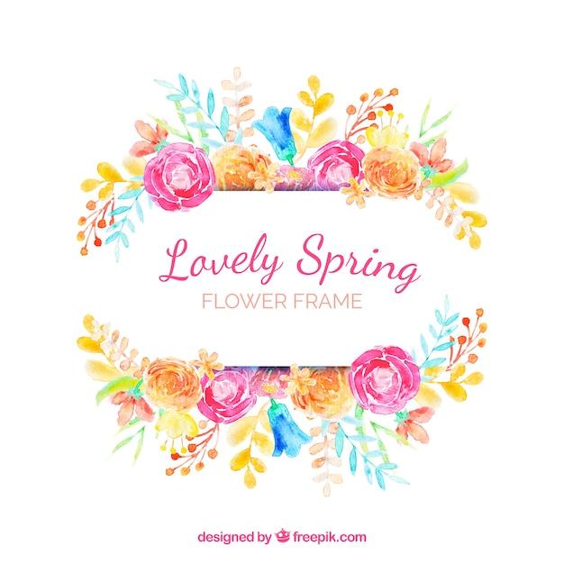Akwarela kwiatowy rama piękny wiosna Darmowych Wektorów