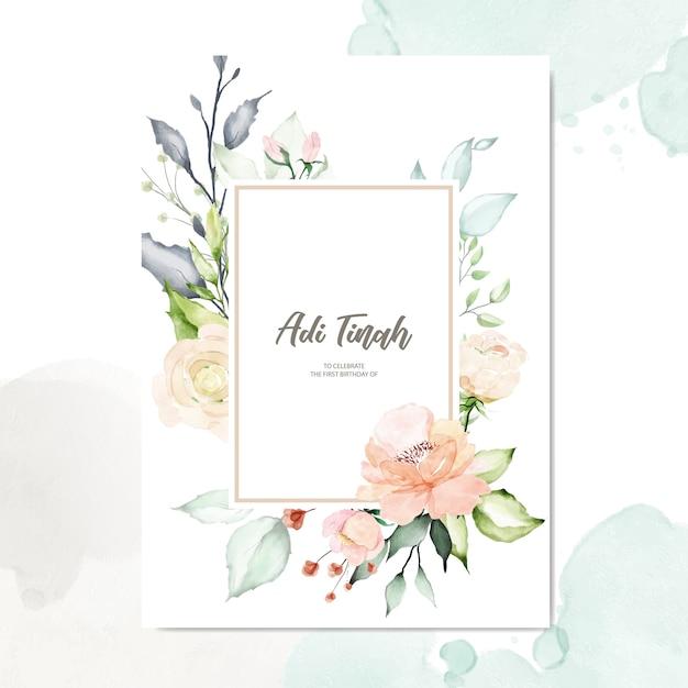 Akwarela kwiatowy rama wielozadaniowy tło Premium Wektorów