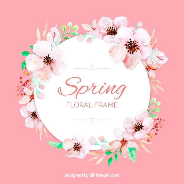 Akwarela kwiatowy rama wiosna Darmowych Wektorów