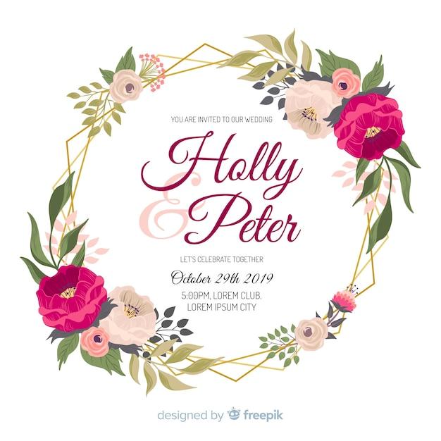 Akwarela kwiatowy ramki na zaproszenia ślubne Darmowych Wektorów