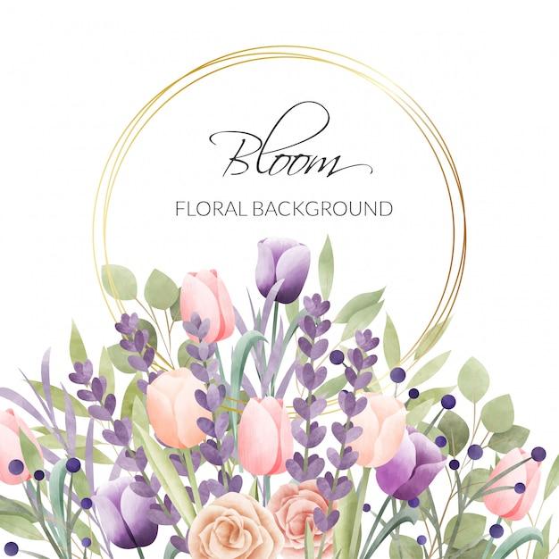 Akwarela kwiatowy ramki. tło wielofunkcyjne. Premium Wektorów