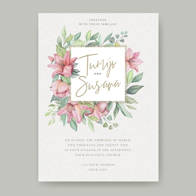 Akwarela Kwiatowy ślub Karty Darmowych Wektorów