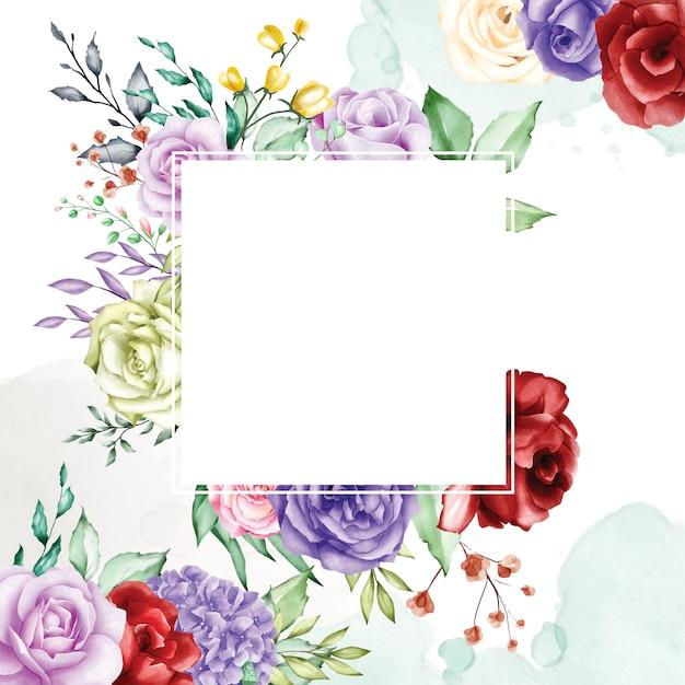 Akwarela kwiatowy tło ramki Premium Wektorów