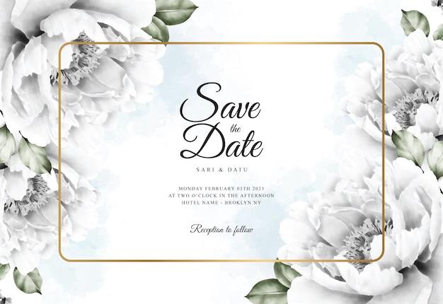 Akwarela Kwiatowy Tło Szablonu Karty ślubu Premium Wektorów
