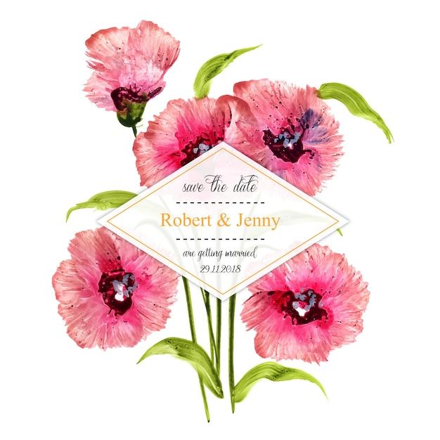 Akwarela kwiatowy wesele zaproszenie rama Darmowych Wektorów