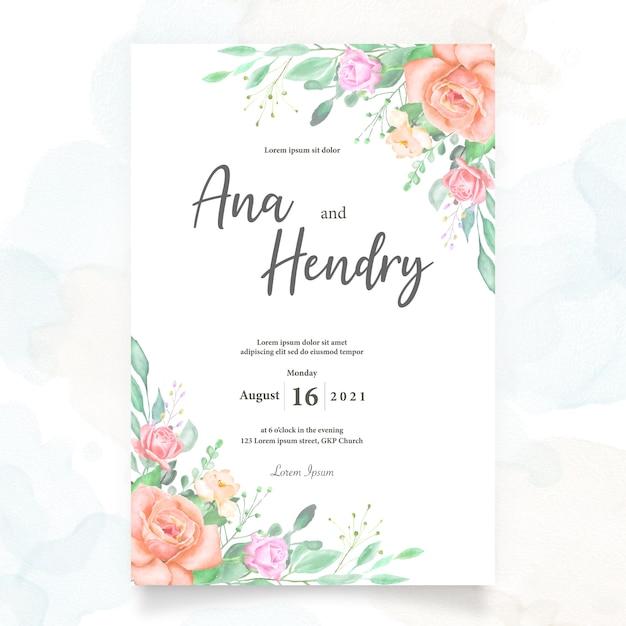 Akwarela Kwiatowy Wzór Karty ślubu Premium Wektorów