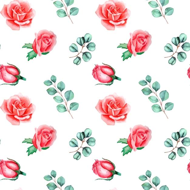 Akwarela Kwiatowy Wzór Z Róż I Eukaliptusa Na Białym Tle Premium Wektorów