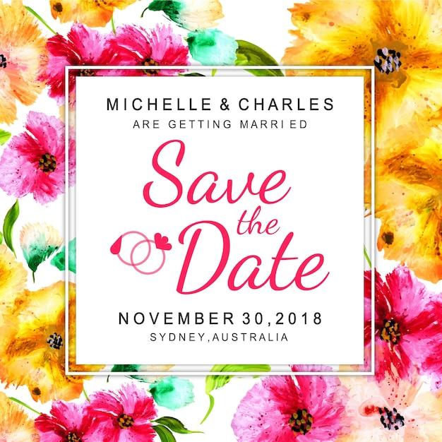 Akwarela kwiatowy zaproszenie na ślub Darmowych Wektorów