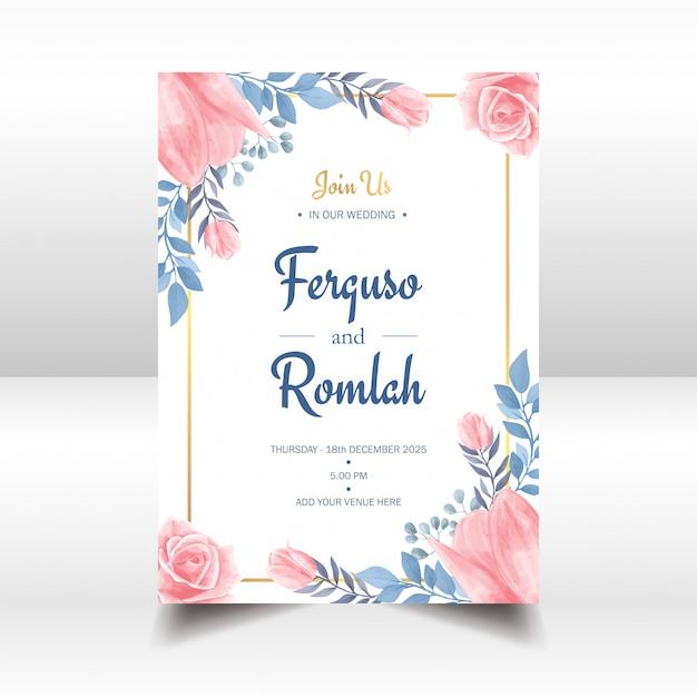 Akwarela Kwiatowy Zaproszenie Na ślub Złota Rama Premium Wektorów
