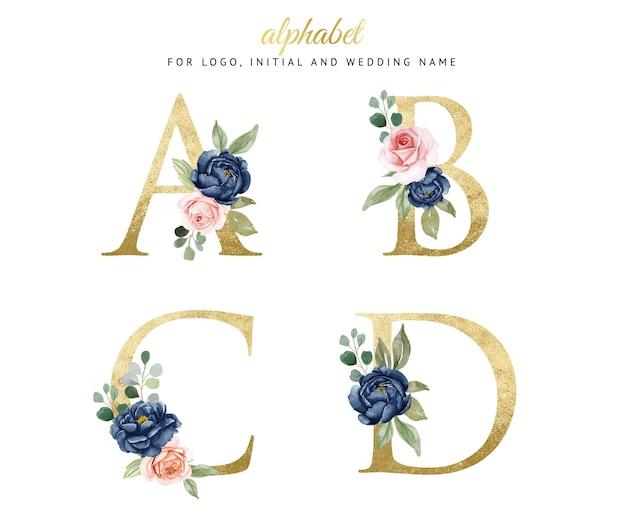 Akwarela Kwiatowy Złoty Alfabet Zestaw A, B, C, D Z Granatowymi I Brzoskwiniowymi Kwiatami. Na Logo, Karty, Branding Itp Premium Wektorów