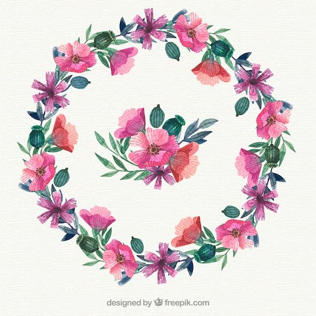 Akwarela kwiatu ramki z eleganckim stylu Darmowych Wektorów