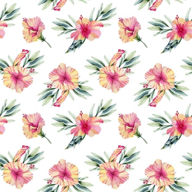 Akwarela kwiaty hibiskusa bukiety wzór Premium Wektorów