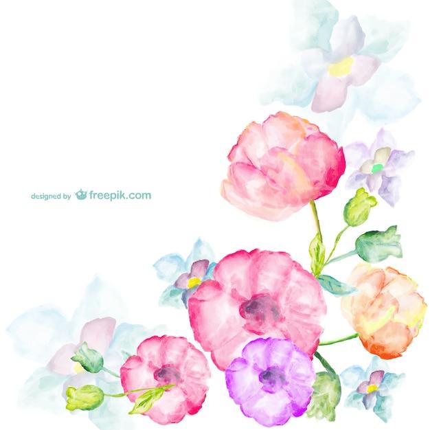 Akwarela kwiaty pozdrowienia karty Darmowych Wektorów