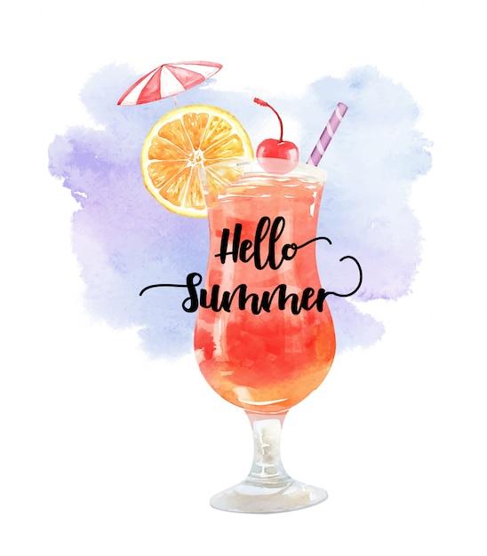 Akwarela lato napój pomarańczowy wiśnia i parasol Premium Wektorów