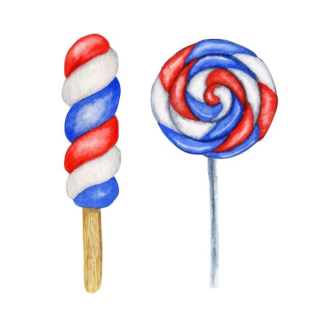 Akwarela Lody Popcicle I Cukierki Lollypop W Kolorach Flagi Usa. Na Słodkie Amerykańskie Patriotyczne Kompozycje, Dzień Niepodległości Ameryki, Pomnik, Koncepcja Wystroju Imprezy Z Okazji Dnia Flagi Premium Wektorów