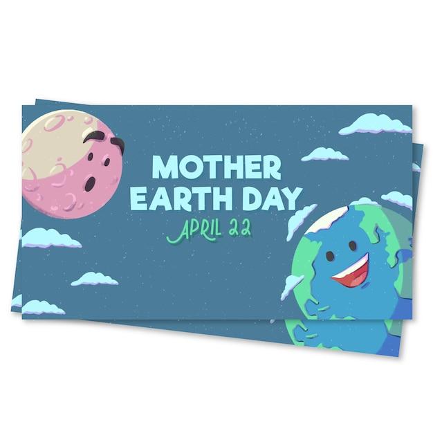Akwarela Matka Dzień Ziemi Projekt Transparentu Darmowych Wektorów