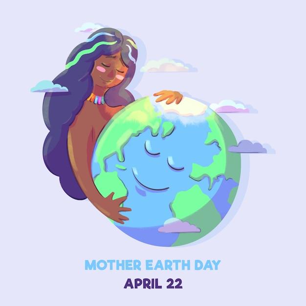 Akwarela Matka Dzień Ziemi Wydarzenie Darmowych Wektorów
