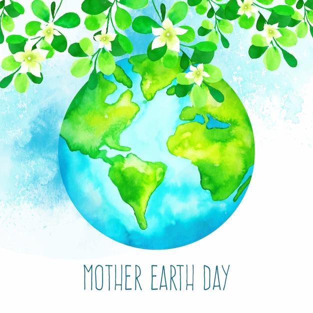 Akwarela Matka Dzień Ziemi Darmowych Wektorów