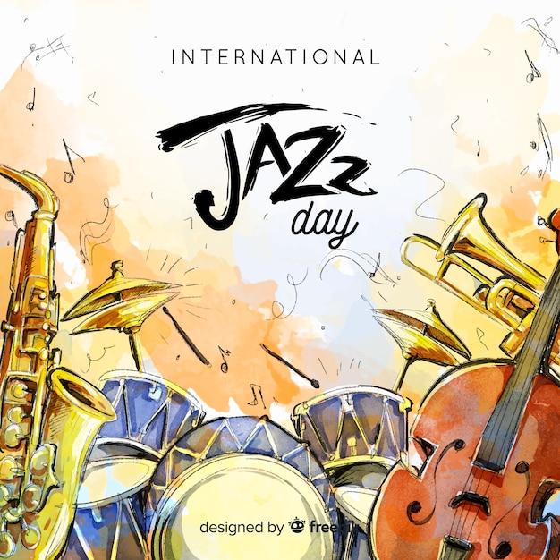 Akwarela międzynarodowego dnia jazzowy tło Darmowych Wektorów