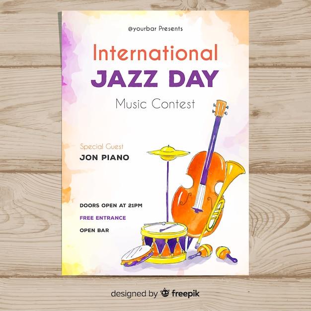 Akwarela Międzynarodowy Dzień Jazzowy Plakat Szablon Darmowych Wektorów