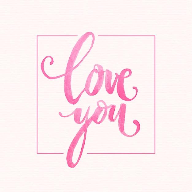 Akwarela miłość napis Premium Wektorów