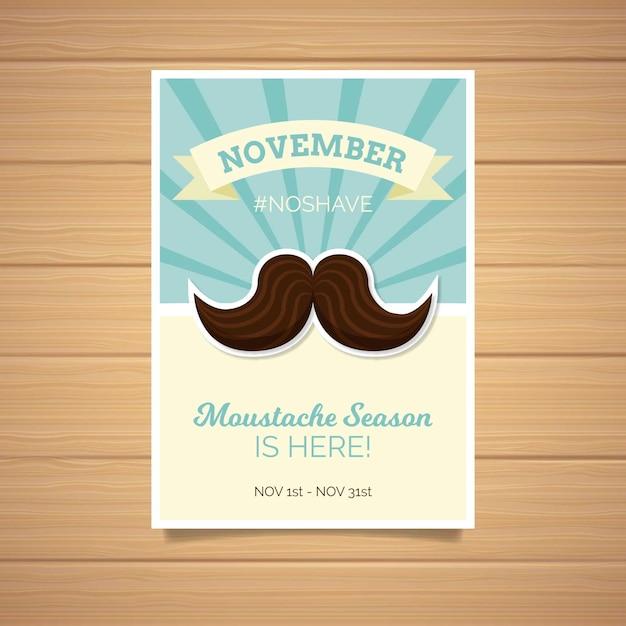 Akwarela Movember Plakat Szablon W Płaskiej Konstrukcji Darmowych Wektorów