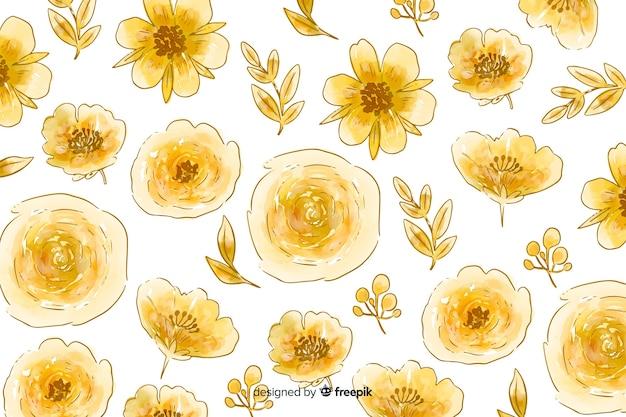 Akwarela Naturalne Tło Z Kwiatami Darmowych Wektorów
