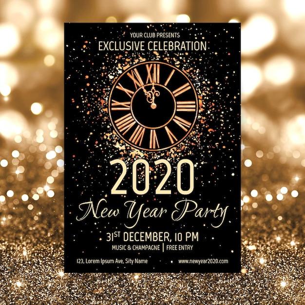 Akwarela nowy rok 2020 party plakat szablon Darmowych Wektorów