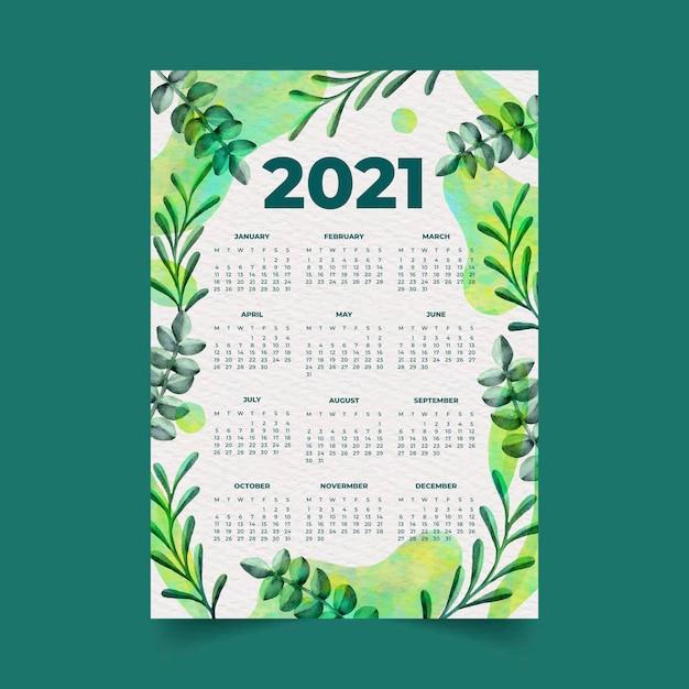 Akwarela Nowy Rok 2021 Kalendarz Z Liśćmi Premium Wektorów